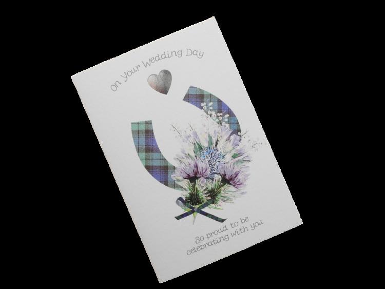 scottish wedding card tartan horseshoe thistle