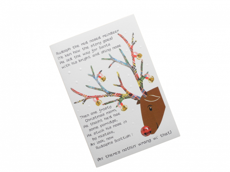 scottish christmas card tartan reindeer scots language humorous funny