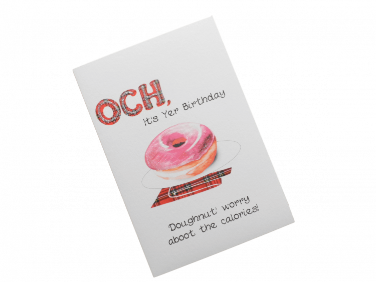 scottish birthday card tartan doughnut doric scots language humorous funny