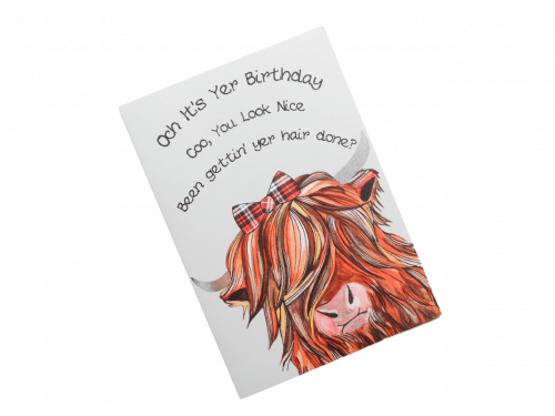 scottish birthday card tartan highland cow doric scots language humorous funny