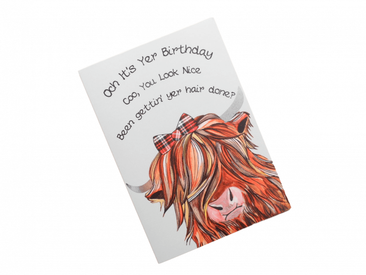 scottish birthday card tartan highland cow doric scots language humorous funny