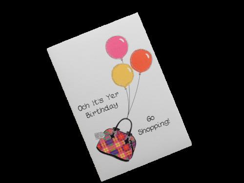 scottish birthday card tartan shopping bag doric scots language humorous funny