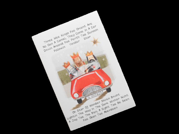 scottish christmas card three kings doric scots language humorous funny