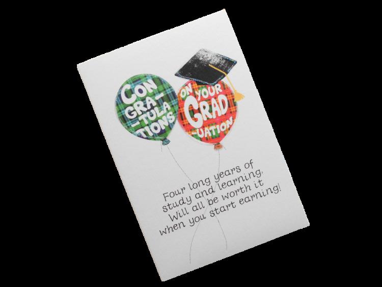 scottish graduation card tartan balloons