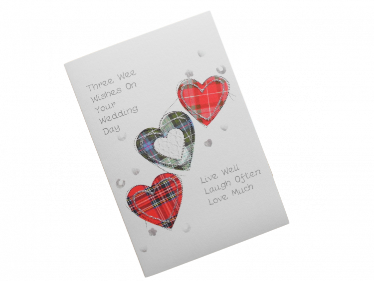scottish wedding card tartan hearts doric scots language