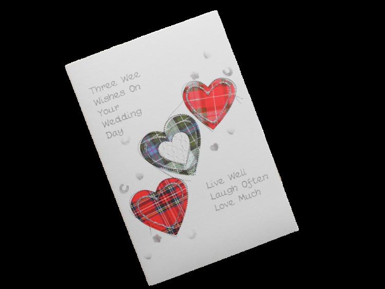 scottish wedding card tartan hearts doric scots language