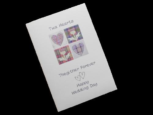 scottish wedding card tartan hearts thistles doric scots language