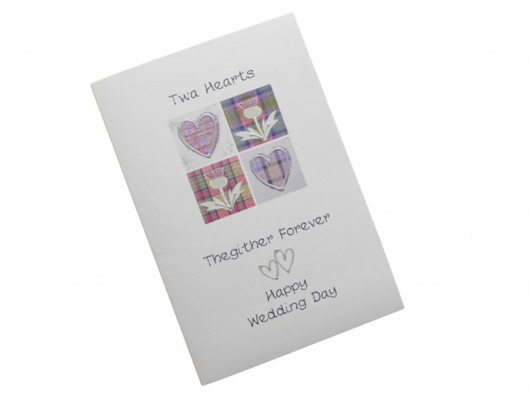 scottish wedding card tartan hearts thistles doric scots language