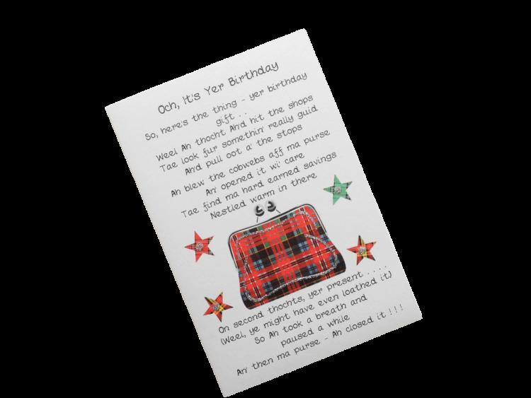 scottish birthday card tartan purse doric scots language
