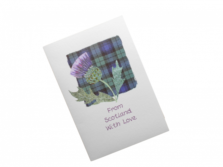 scottish thistle black watch tartan card from scotland with love
