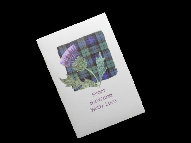 scottish thistle black watch tartan card from scotland with love