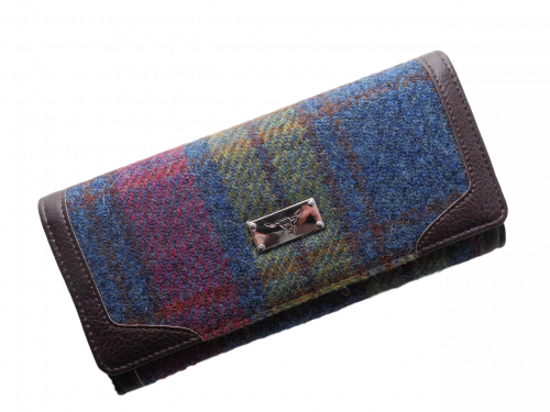 scottish ladies gift harris tweed purse burgundy navy green check