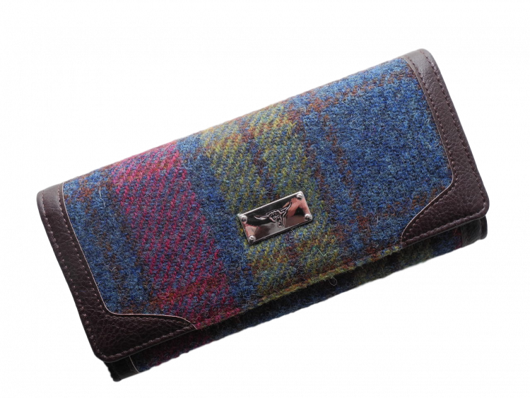 scottish gift harris tweed purse burgundy green check