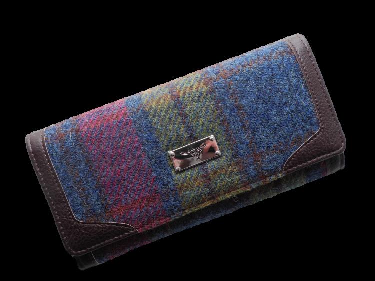 scottish gift harris tweed purse burgundy green check