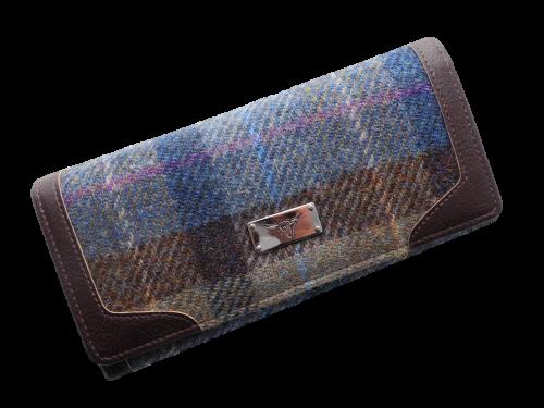 scottish ladies gift harris tweed purse teal brown check