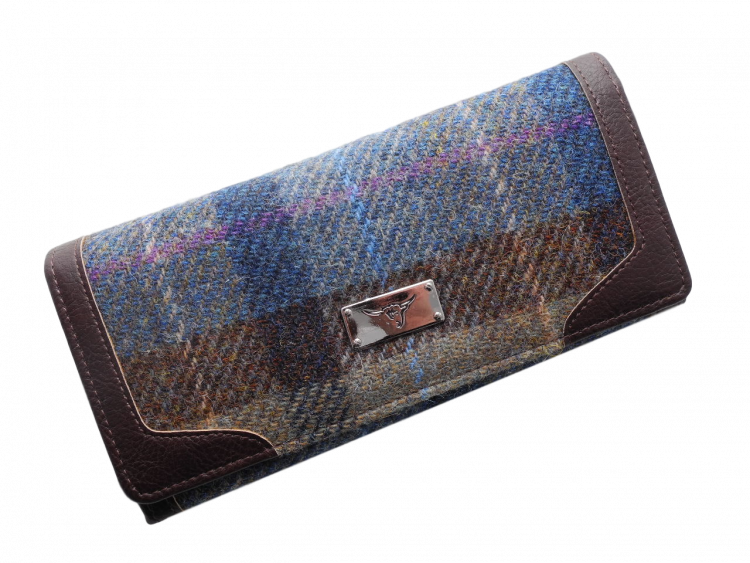 scottish gift harris tweed purse teal brown check