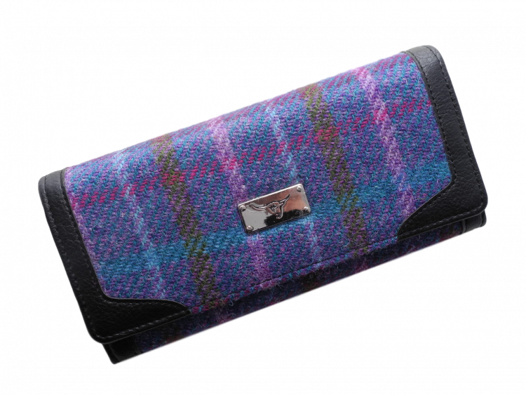 scottish gift harris tweed purse teal multi check
