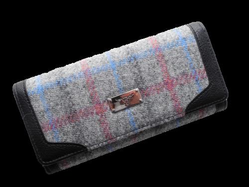 scottish ladies gift harris tweed purse grey pink blue check