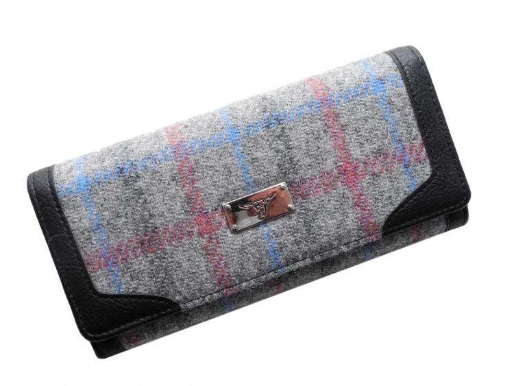 scottish gift harris tweed purse grey check