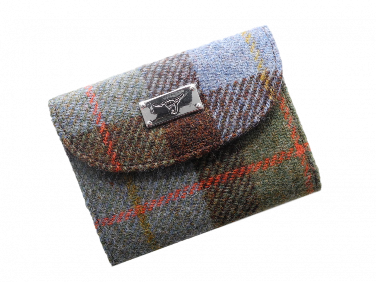 scottish gift harris tweed purse blue green check