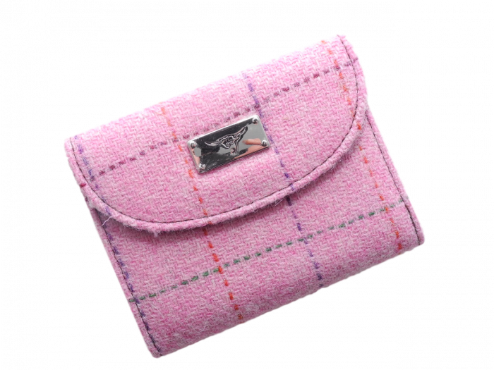 scottish gift harris tweed purse pink check