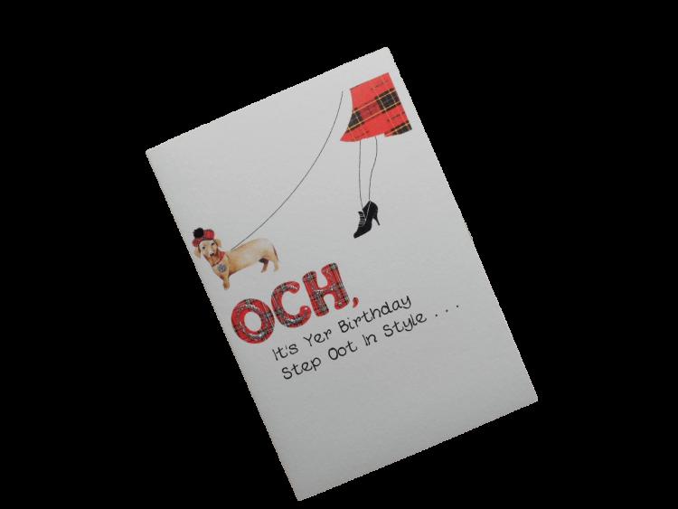 scottish birthday card tartan dog doric scots language