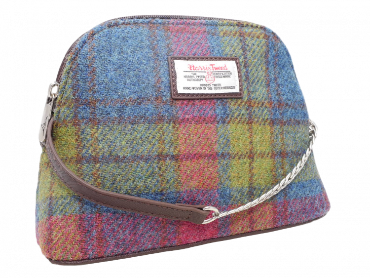 scottish ladies gift harris tweed handbag shoulder bag burgundy green check