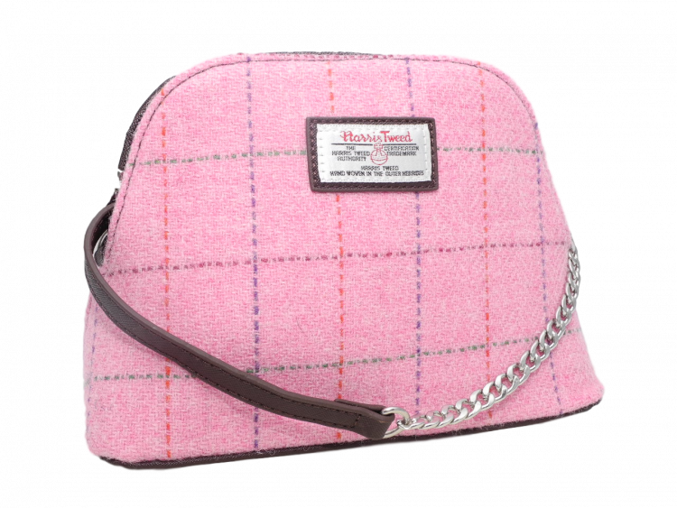 scottish ladies gift harris tweed handbag shoulder bag pink check