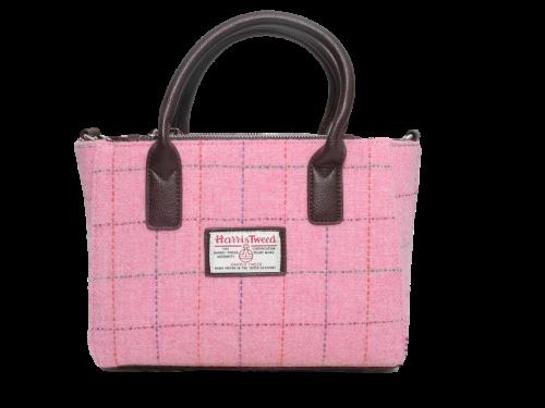 scottish ladies gift harris tweed handbag shoulder bag pink