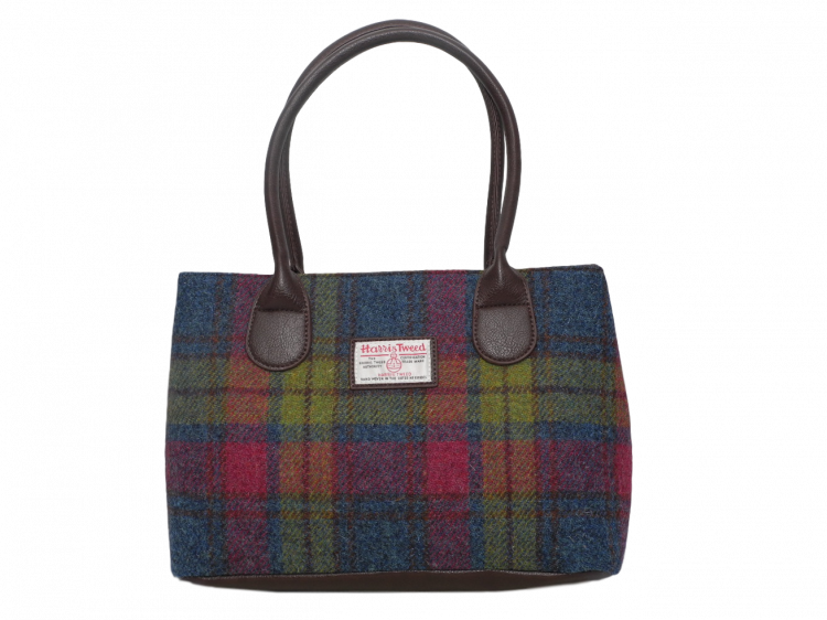 scottish ladies gift harris tweed handbag shoulder bag burgundy green check