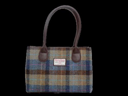 scottish ladies gift harris tweed handbag shoulder bag green teal check