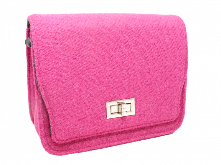 scottish ladies gift harris tweed handbag shoulder bag shocking pink