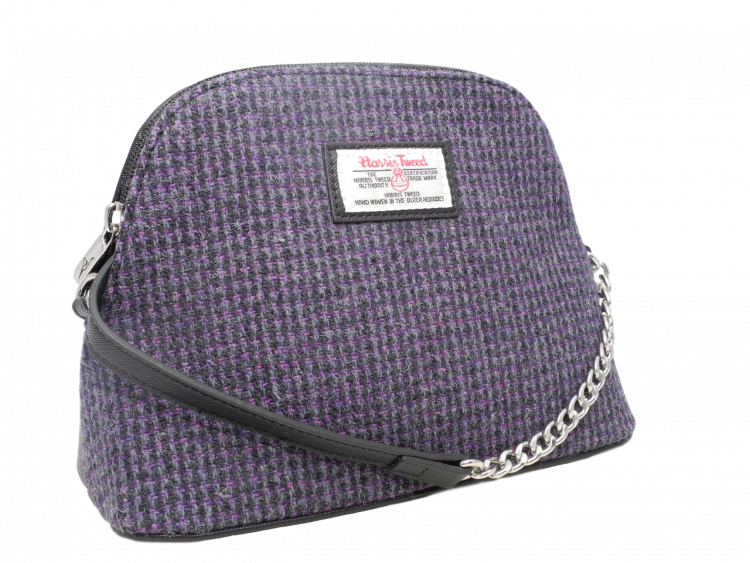 scottish ladies gift harris tweed handbag shoulder bag black lilac dogtooth check