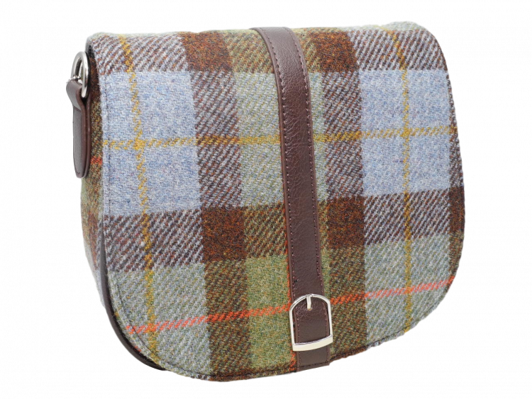 scottish ladies gift harris tweed handbag shoulder bag blue green check