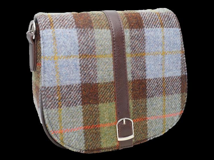 scottish ladies gift harris tweed handbag shoulder bag blue green check