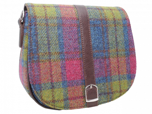Harris Tweed Teal Multi Check – scottish ladies gift harris tweed handbag shoulder bag teal multi check