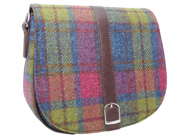 Harris Tweed Teal Multi Check – scottish ladies gift harris tweed handbag shoulder bag teal multi check