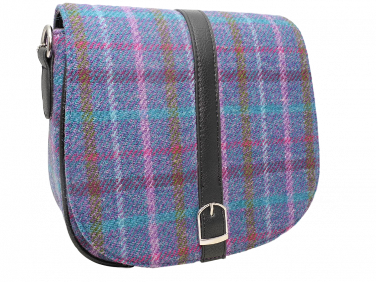 scottish ladies gift harris tweed handbag shoulder bag teal multi check