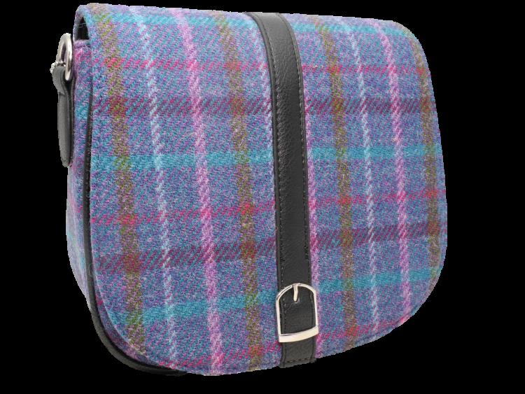scottish ladies gift harris tweed handbag shoulder bag teal multi check