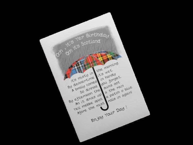 scottish birthday card tartan umbrella doric scots language humorous funny