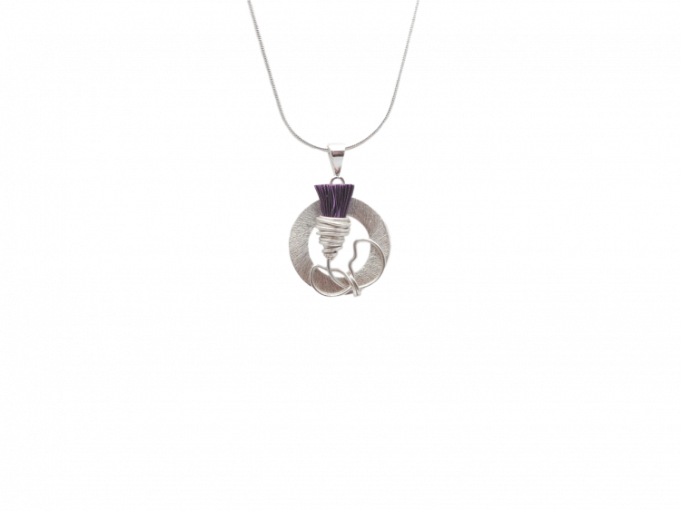 scottish thistle hand crafted silver hypoallergenic pendant
