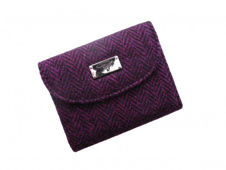 scottish gift harris tweed purse burgundy herringbone