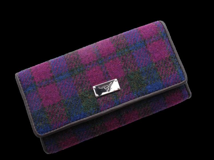 scottish gift harris tweed purse burgundy navy check