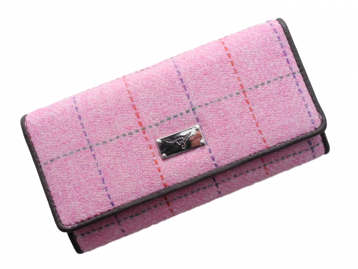 scottish gift harris tweed purse pale pink check