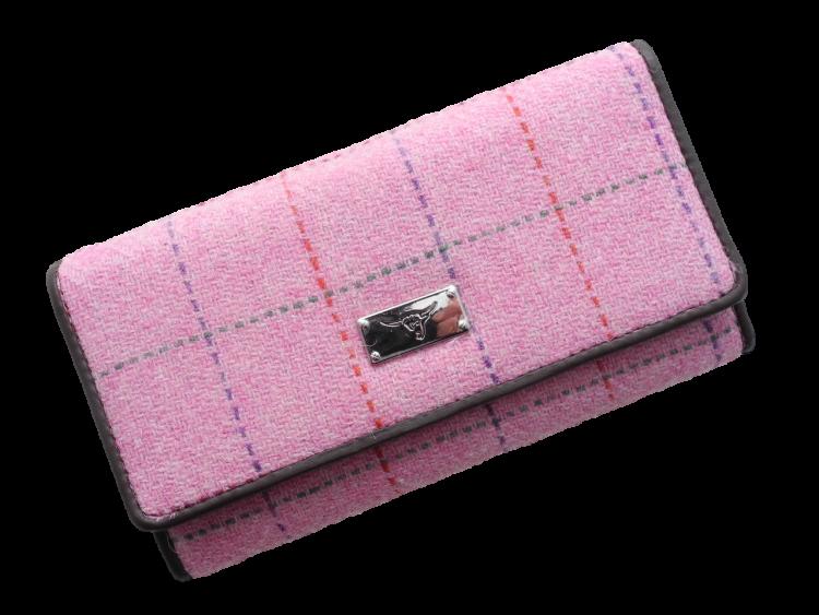 scottish ladies gift harris tweed purse pink check