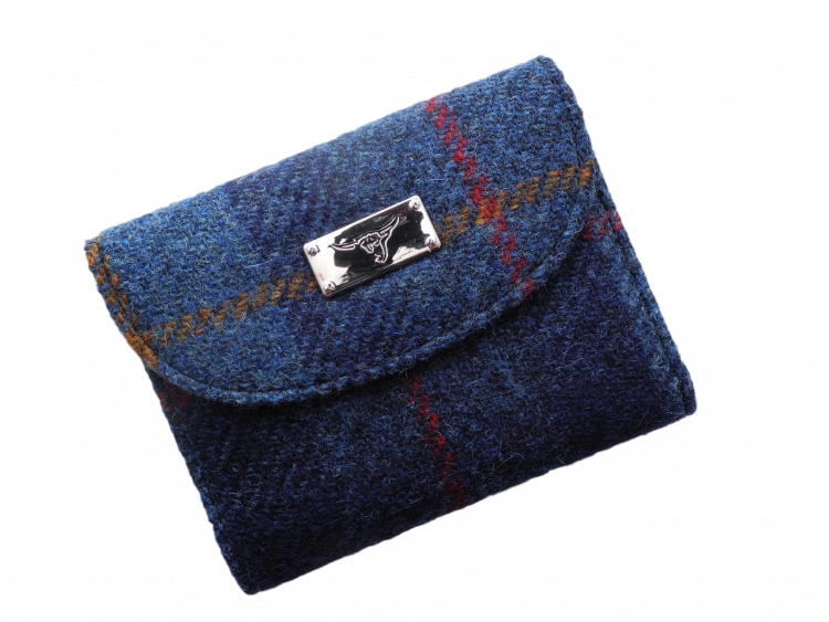 scottish gift harris tweed purse navy check