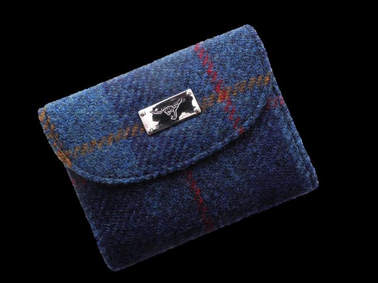 scottish ladies gift harris tweed purse navy check