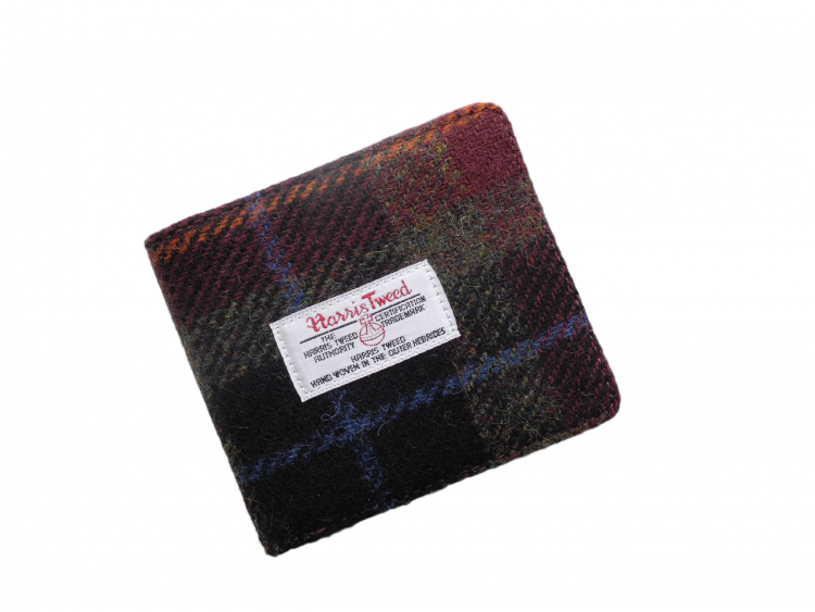 scottish gents wallet harris tweed black tan check