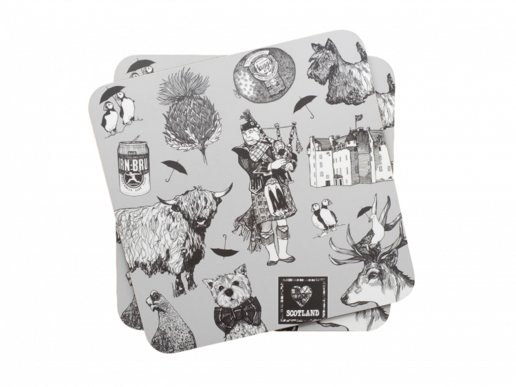 scottish place table mats highland cow piper castle haggis thistle stag