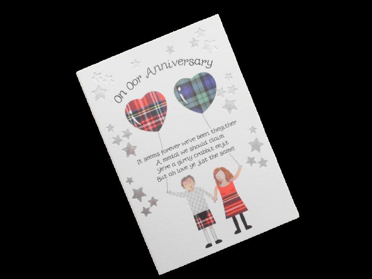 scottish anniversary card tartan humorous funny cheeky scots doric language